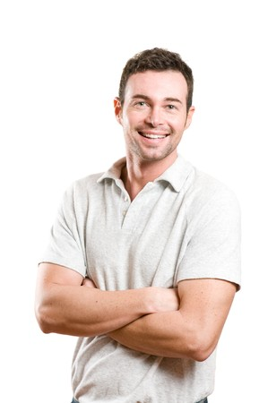 Happy smiling young man looking at camera with joy and confidence, isolated on white background photo