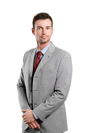 Stylish young confident businessman standing isolated on white background photo