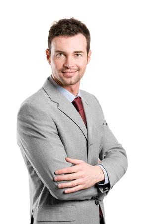 Portrait of happy stylish businessman smiling at camera isolated on white background photo