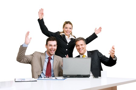 Happy smiling business team celebrate their new success isolated on white background photo