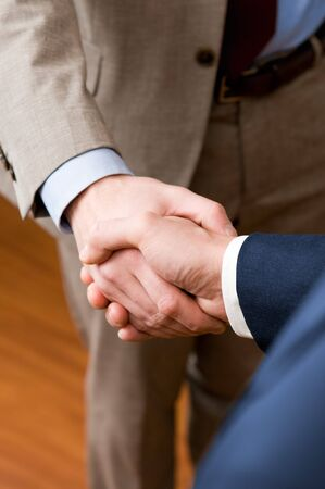 men shaking hands: Two professional businessman giving handshake in the office, vertical copy space