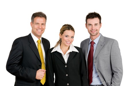 Smiling happy business team standing and looking at camera isolated on white background