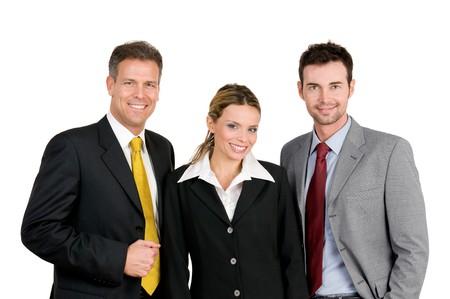 trois: Souriant affaires heureuse �quipe permanent et de la recherche � la cam�ra isol�e sur fond blanc Banque d'images