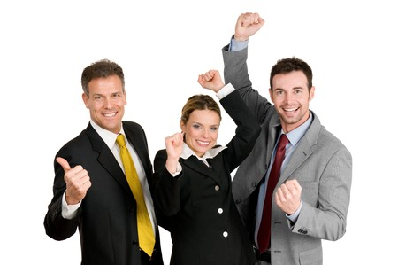 winning woman: Successful happy business team celebrate their new success isolated on white background