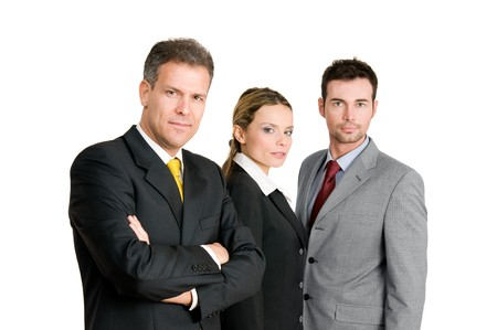 three persons: Business team with mature businessman leading the group isolated on white background Stock Photo