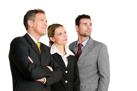 team vision: Satisfied confident business team looking away at their bright future isolated on white background