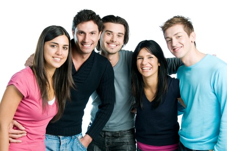 male friends: Happy smiling group of young friends standing and embracing together isolated on white background