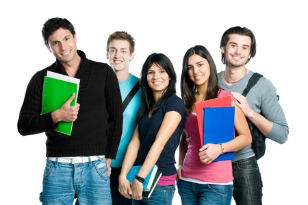 latin students: Group of happy young teenager students standing and smiling with books and bags isolated on white background. Stock Photo