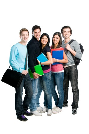 male student: Happy group of young teenager students with books and bags standing full length isolated over white background.