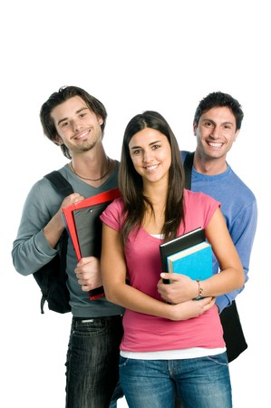 students fun: Three happy students standing together with fun, while smiling and looking at camera isolated on white background.