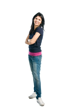 Happy young latin woman standing full length isolated on white background photo