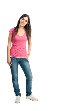 latinos: Happy young latin woman standing full length isolated on white background