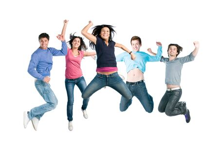 Happy active group of young friends jump together with fun isolated on white background photo