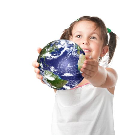 Adorable smiling little holding and offering a planet earth, symbol of environmental conservation, isolated on white background photo