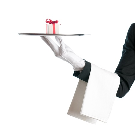 serve one person: Waiter holding a tray with gift box for bithday or Christmas isolated on white background