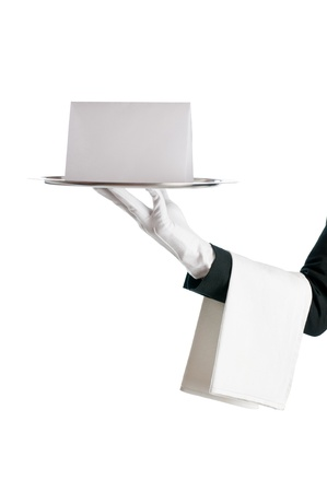 silver tray: Waiter holding a tray with blank card for your text and annoncement isolated on white background