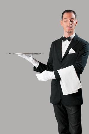 meseros: Camarero altiva sosteniendo una bandeja vac�a para colocar su producto