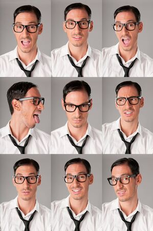 Multiple shots of nerd with vaus expression Stock Photo - 8590283