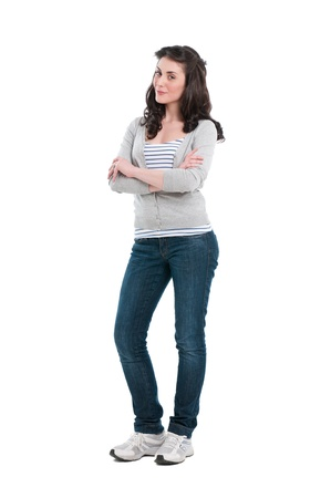 teenagers standing: Smiling young girl full length isolated on white background Stock Photo