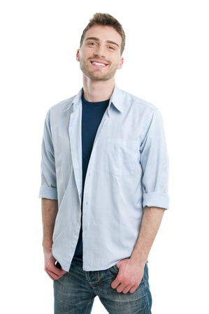 Happy smiling young guy posing isolated on white background photo