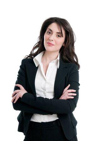 Young beautiful smiling business woman isolated on white background Stock Photo - 9677677