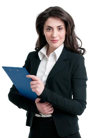 mujer sola: Sonriendo documento de explotaci�n de mujer de negocios en Portapapeles aisladas sobre fondo blanco Foto de archivo