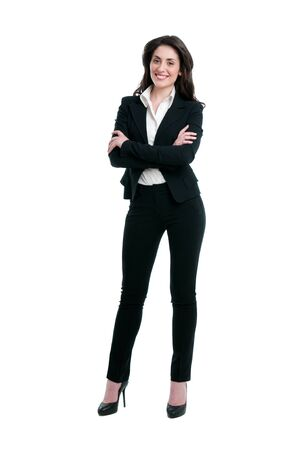 mujer sola: Feliz empresaria sonriente en adaptarse aislada sobre fondo blanco