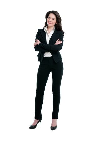 Smiling business woman full length isolated on white background photo