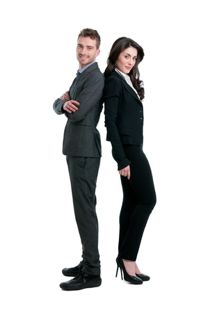 fashionable couple: Smiling business couple standing together isolated on white background Stock Photo