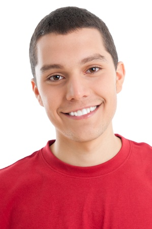 teen boy face: Portrait of happy smiling young guy isolated on white background