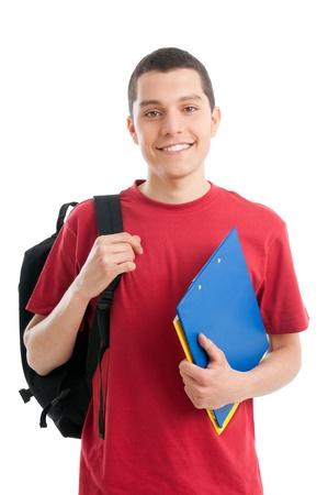 hispanic student: Feliz estudiante sonriente aisladas sobre fondo blanco