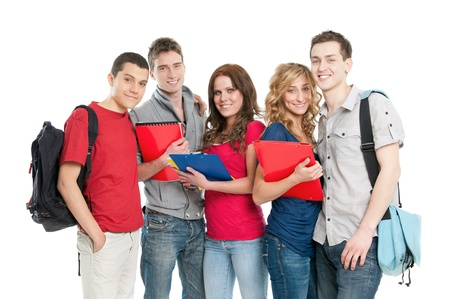 university students: Happy smiling group of young students isolated on white background Stock Photo