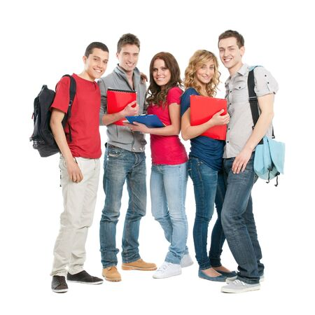 student girl: Happy smiling group of students standing isolated on white background