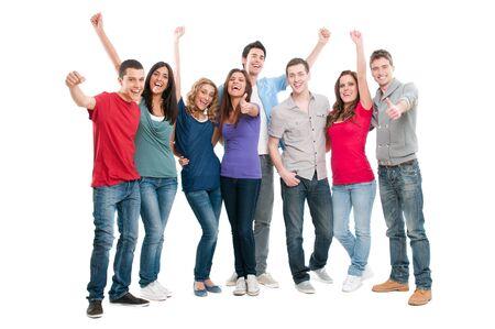 thumbs up group: Felice gioiosa gruppo di amici di tifo isolato su sfondo bianco Archivio Fotografico