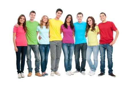 jugendliche gruppe: Portr�t von gl�cklich l�chelnd Gruppe von jungen Freunden zusammen isolated on white background Lizenzfreie Bilder