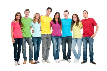 adult group: Portrait of happy smiling group of young friends together isolated on white background Stock Photo
