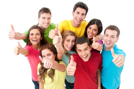 Happy smiling successful young friends showing thumb up isolated on white background