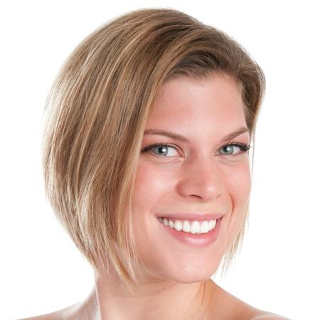 короткие волосы: Счастливые улыбающиеся молодые лица крупным планом девушка