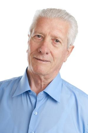 Portrait of aged senior man smiling isolated on white background