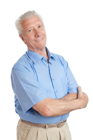 spokojený: Spokojený šťastný senior muž při pohledu na kameru na bílém pozadí Reklamní fotografie