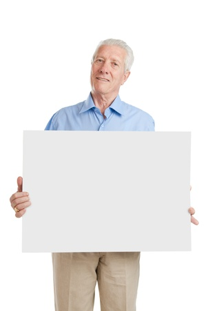 male senior adult: Happy smiling senior man showing blank placard to write it on your own text, isolated on white background Stock Photo