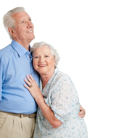 Happy smiling old couple standing together isolated on white background copy space