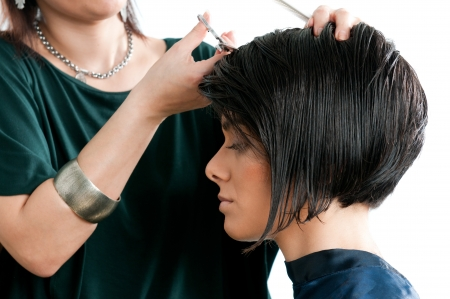 black hair: Young beautiful woman at the hairdresser salon