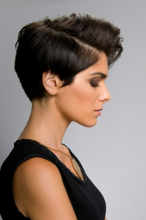 Fashion model with straight short hair profile view photo
