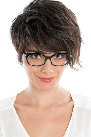 girl short hair: Smiling satisfied beautiful woman looking at camera with her new pair of eyeglasses