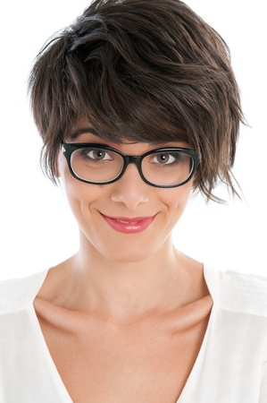 occhiali da vista: Bella signora sorridente con espressione soddisfatta divertente e il suo paio di occhiali Archivio Fotografico