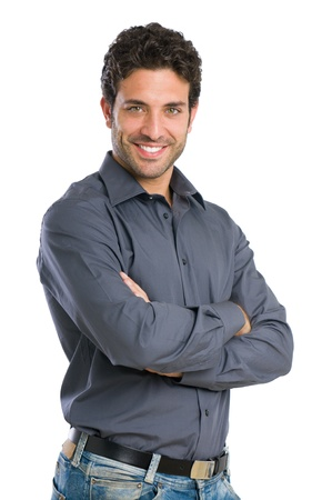 satisfied: Happy smiling young man looking at camera with satisfaction isolated on white background