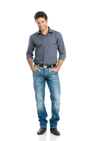 a young man: Full length portrait of happy handsome young man isolated on white background