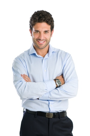 formal shirt: Happy smiling businessman looking at camera with satisfaction, isolated on white background