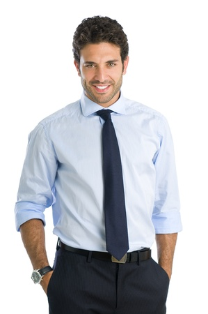 Smiling beautiful young businessman looking at camera with satisfaction photo